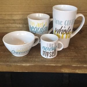 Coffee Shop set of four coffee mugs